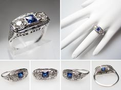 Antique Diamond Sapphire Filigree Ring