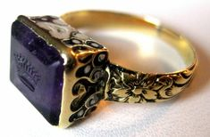Court of England - Amethyst & 15K Gold Ring, Circa 1610 - 1625