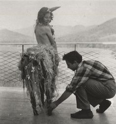 """bremser: """" Trude Guermonprez, Ingeborg Svarc Lauterstein, dressed as a centaur or unicorn, and Robert Rauschenberg, students at Black Mountain College, North Carolina, ca.1948-1949 """""""