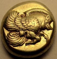 LESBOS. Mytilene.The Best Coin ever. Gold El winged boar &Lion FirstDies NGC XF*