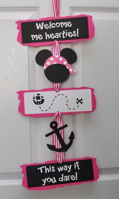 Girly Pirate Minnie Mouse Door Sign