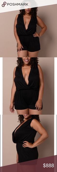 "COMING SOON!!! Chic Sexy Black Romper Chic Sexy Black Romper! V neckline, sleeveless, and elastic waist. 95% Rayon 5% Spandex. 1X Bust 36"" Waist 33"" Hip 46"". Dresses"