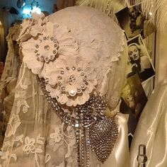 Antique Irish Lace & Diamante Headpiece Sheelin Antique Lace Shop (could use as a lamp shade)