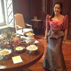 Bea liked the color theme of this gown as well as the Filipiniana design.   High Tea at Malacanang | KRISAQUINO.NET - The Official Kris Aquino Site