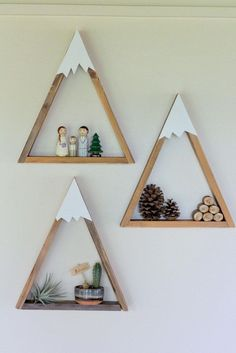 SET OF 3 Woodland Nursery Mountain Shelf Room Decor Snow Peak Mountain Forest Reclaimed Wood Triangle Geometric - Nursery shelves, Woodland nursery design, Handmade home decor, Easy home decor, Mounta -