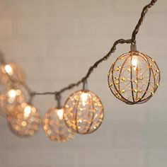 String Lights, Metallic Spheres, 6 Feet, Outdoor, Plug In, Warm White