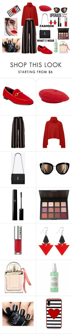 A fashion look from March 2018 featuring roll-neck sweaters, wide leg cropped pants and horse bit loafers. Browse and shop related looks. Bit Loafers, Rosetta Getty, Horse Bits, Roll Neck Sweater, Wide Leg Cropped Pants, River Island, Yves Saint Laurent, What To Wear, Mario