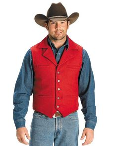 Schaefer Men's Red Cattle Baron Vest - Shell made of 24-ounce Canadian Melton wool Hand-tailored with a four-pocket front Hidden elasticized back creates a classic fitted look | gifts for cowboys men man drysdales.com western menswear for cowboys rancher's outerwear rugged durable resilient comfortable cold weather gear warm comfortable outerwear fall winter outdoors snow rain sleet wind rancher ranchwear