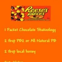 Chocolate Shakeology Reese's Pieces Recipe: You can easily prepare this award-winning recipe by combining and blending the following ingredients:  1. Single pack of Chocolate Shakeology.  2. 8 ounces of water.  3. Two tablespoons of all-natural peanut butter.  4. Two tablespoons of raw local honey.  My verdict: Five out of five stars for simply being irresistible and so good that you will actually feel guilty after drinking it. ~ Tony B. Banawa