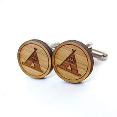 Cufflinks for a Grooms Gift! Teepee Tent Cufflinks  Bamboo  Wood Cufflinks  Gifts by Cabin, $20.00
