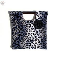 Leopard Faux Fur With Black Rock Rose Handle Purse