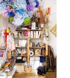 Organizing your room can be easy with more shelving and using the ceiling for hangers (Confetti System studio, NY)