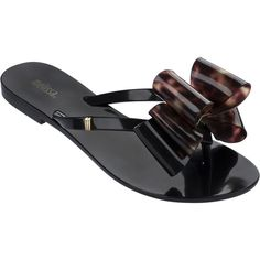 Melissa Harmonic Twin Bow Black TS (22 KWD) ❤ liked on Polyvore featuring shoes, sandals, flip flops, melissa sandals, black sandals, gold shoes, bow flip flops and metallic sandals