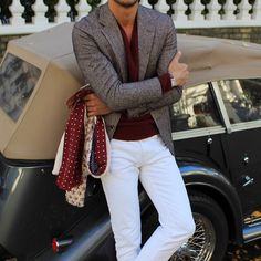 Classy winter  white x burgundy. #mensstyle #menswear #mensfashion #menssuits…