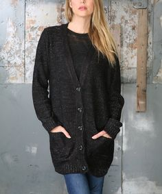 Look what I found on #zulily! Ananda's Collection Black Melange Button-Up Cardigan by Ananda's Collection #zulilyfinds