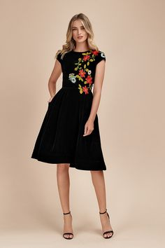 Black Velvet Midi Dress with Hand Embroidered Flowers Velvet Midi Dress, Black Midi Dress, All Silhouettes, Embroidered Flowers, Custom Clothes, Black Velvet, Suits For Women, Evening Dresses, Cold Shoulder Dress
