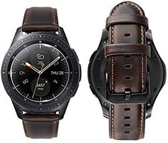 iBazal Gear Watch Band Frontier/Classic Genuine Leather Bands Replacement Strap for Samsung Gear Frontier/Classic Galaxy Watch Time- Coffee Huawei Watch, Casio Watch, Watch 2, Smart Watch, Nylons, Samsung Gear S2 Classic, Samsung Gear S3 Frontier, Men Coffee, Replacement Watch Bands