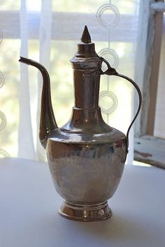 Vintage Silver Turkish Arabic Coffee Pot by ViviennesAttic on Etsy, $50.00
