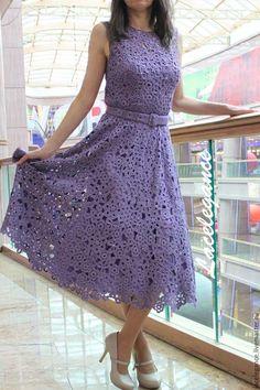 Купить L'etoile du matin - сиреневый, платье, шелковое платье, крепдешин, ирландское кружево