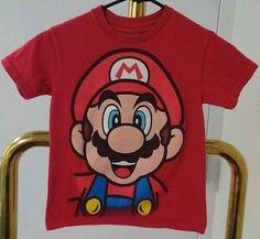 Boys Super Mario Shirt Size 6/7 Small Cotton Tee Nintendo Clothes Red Gamer Top