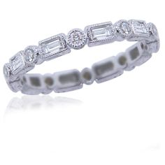 Stackable Round & Baguette Diamond Eternity Ring in 18KT Gold 0.62ctw for only $950.00