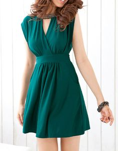 Wholesale Solid Color Sleeveless Round Collar Diamonds Embellished Keyhole Design Dress For Women (BLACKISH GREEN,ONE SIZE), Casual Dresses - Rosewholesale.com