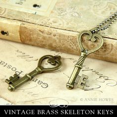 Decorative Skeleton Key with Heart. 5 Pack. by AnnieHowes on Etsy, $4.00