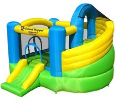Let your kids play and get some exercise with the Island Hopper Jump-A-Lot Curved Double Slide Bounce House. This castle themed jump-a-lot curved double slide inflatable bounce house will be loved by your Kids Bouncy Castle, Castle Bounce House, Bouncy House, Inflatable Bounce House, Inflatable Bouncers, Inflatable Slide, Bounce House With Slide, House Slide, Outdoor Fun