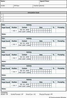 Free Articulation Data Sheet - easy data collection