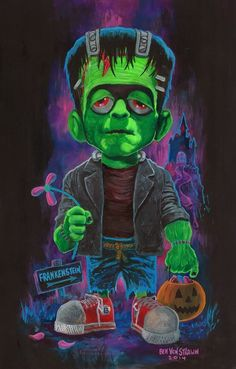 Little Frankenstein by Ben Von Strawn Love Monster, Frankenstein's Monster, Halloween Horror, Halloween Art, Halloween Recipe, Halloween Cupcakes, Halloween Projects, Creepy Pictures, Cute Pictures