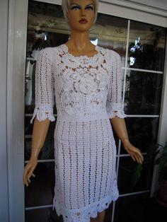 Handmade Crochet Dresses   Handmade crochet lace dress with flowers in white cotton gift idea for ...