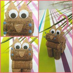 Figurine en forme de chat en bouchons en liège #epingles #grosyeux