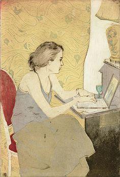 Ellen Heck. Elizabeth on Her Laptop, 2009. Woodcut, drypoint and aquatint.