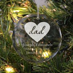 Memorial Ornament for Dad with a Heart | Remember Me Gifts