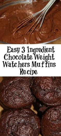This easy 3 Ingredient Chocolate Weight Watchers Muffins Recipe is a perfect sma. This easy 3 Ingredient Chocolate Weight Watchers Muffins Recipe is a perfect small treat! Weight Watcher Desserts, Weight Watchers Snacks, Weight Watcher Muffins, Weight Watchers Kuchen, Weight Watchers Breakfast, Weight Watchers Cupcakes, Weight Watchers Recipes With Smartpoints, Weight Watchers Brownies, Skinny Recipes