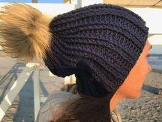 fur pom pom beanie, slouchy fur pom pom hat, winter style, winter fashion, crochet winter hat, slouchy hat, custom fur pom pom hat, by LoveLifeGifts on Etsy https://www.etsy.com/listing/498713761/fur-pom-pom-beanie-slouchy-fur-pom-pom