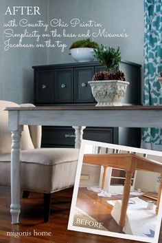 Farmhouse table redo with an antiqued Country Chic Paint on the legs and a stained top by Migonis Home