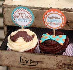 Cute cupcake toppers #mustache #cupcakes