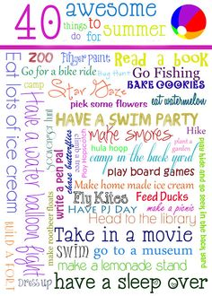 40 Awesome things to do with kids for the Summer!!  #summer  #kids  #activites