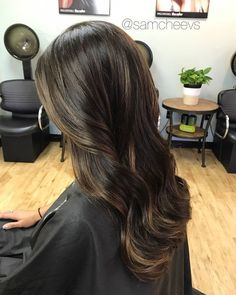 Subtle chocolate caramel Mocha honey ombré balayage highlights for rich natural brown and black hair / color for dark hair types Balayage Hair Dark Black, Dark Brunette Balayage Hair, Balayage Hair Ombre, Black Hair Ombre, Black Hair With Highlights, Hair Color Highlights, Balayage Highlights, Dark Hair, Natural Highlights