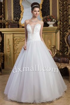 A-line Wedding Dresses Picture Shown Floor Length Netting Satin Ivory 01001010236