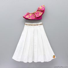 Pre Order: One Shoulder Crop Top With White Skirt Girls Frock Design, Kids Frocks Design, Baby Frocks Designs, Baby Dress Design, Kids Gown Design, Kids Indian Wear, Kids Ethnic Wear, Indian Dresses For Kids, Indian Baby Girl