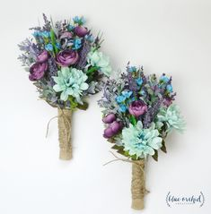Wildflower Bouquet, Lavender Bouquet, Turquoise, Teal, Purple, Boho Wedding Bouquet, Bridesmaid Bouquet, Wildflower Bouquet, Rustic Bouquet by blueorchidcreations on Etsy