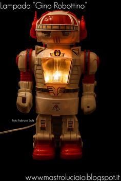 """Gino Robottino"" lamp, made with a vintage plastic robot made in Japan. #robot #japan #lamp #vintage #redesign #handicraft #recycle #reuse #artigianato #lampade #lights #luci #handmade"