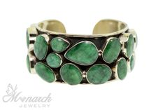 Emerald the Pantone Color of the Year for 2013 | Monarch Jewelry's faceted large Tibetan emerald bezel bracelet in an oxidized brass setting (BR513020) | located in Francine's collection in the showroom | fashion jewelry | Winter Park jeweler | Monarch Mode
