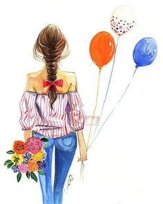 Watercolor Fashion illustration,Fashion art, Fashion painting, Girly wall art, Dressing room art, Teen room art, Titled: Ballon Girl