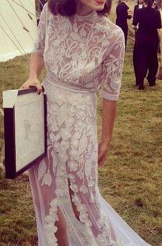boho white lace dress. #bride