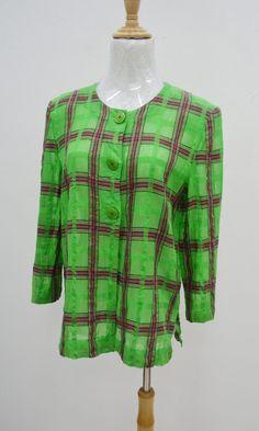 NINA RICCI Vintage 90 s Nina Ricci Geometric Pattern Design Blouse Size 9 fcfac3481