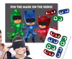 A PJ Masks spin on a classic party game - your guests will have so much fun trying to Pin the Mask on the Hero! Here is whats included: Poster: 2ft x 1.5ft printed on gloss poster paper. Masks: You 24 masks total. They are printed on white cardstock...you can either use push pins or tape on the back (not provided). The blindfold is also not provided. This listing is simply for the paper products - the poster and masks. These are shipped in tubes by USPS Priority Mail, 1-3 days and general...