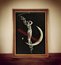 The Universe illustration by George Walker on antiqued paper. Amazing occult home decor in vintage style. Rustic and esoteric decoration for your